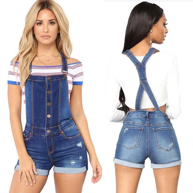 Short denim overalls women Hole Short jumpsuit high waist casual jeans playsuit washed Salopette Straps 2019 summer jeans romper