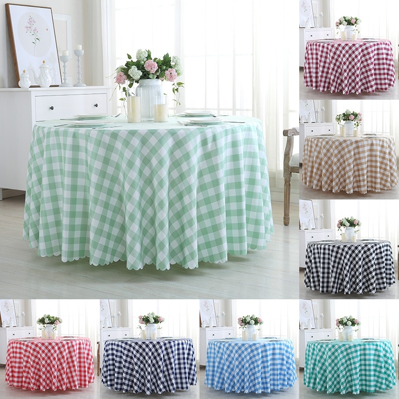 Mantel redondo impermeable de poliéster negro/Blanco/azul/rojo cocina banquete mesa cubre mesa de Picnic interior al aire libre tela