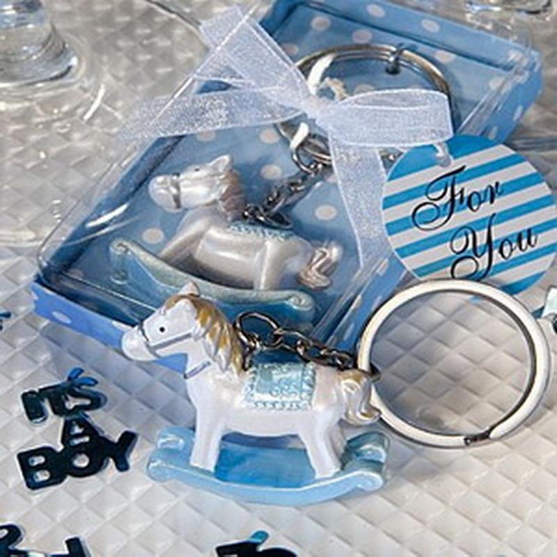 سلسلة مفاتيح على شكل حصان هزاز أزرق ، هدايا لحفلة عيد ميلاد الطفل ، 30 قطعة