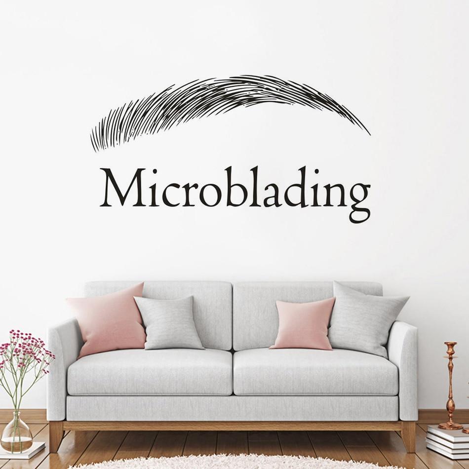 Cejas Microblading Etiqueta de pared del logotipo salón de belleza decoración Interior cejas diseño calcomanía de vinilo para pared Microblading cartel AZ672