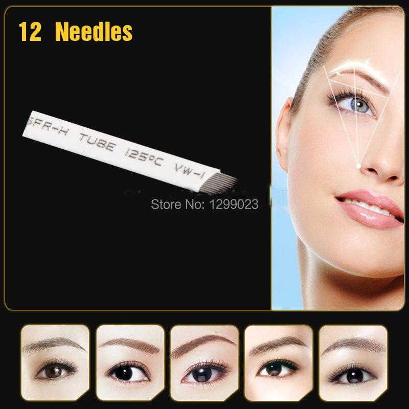 100Pcs flat Permanent Makeup Manual 12-Pin/Needle Blade Eyebrow Tattoo Products Free shipping