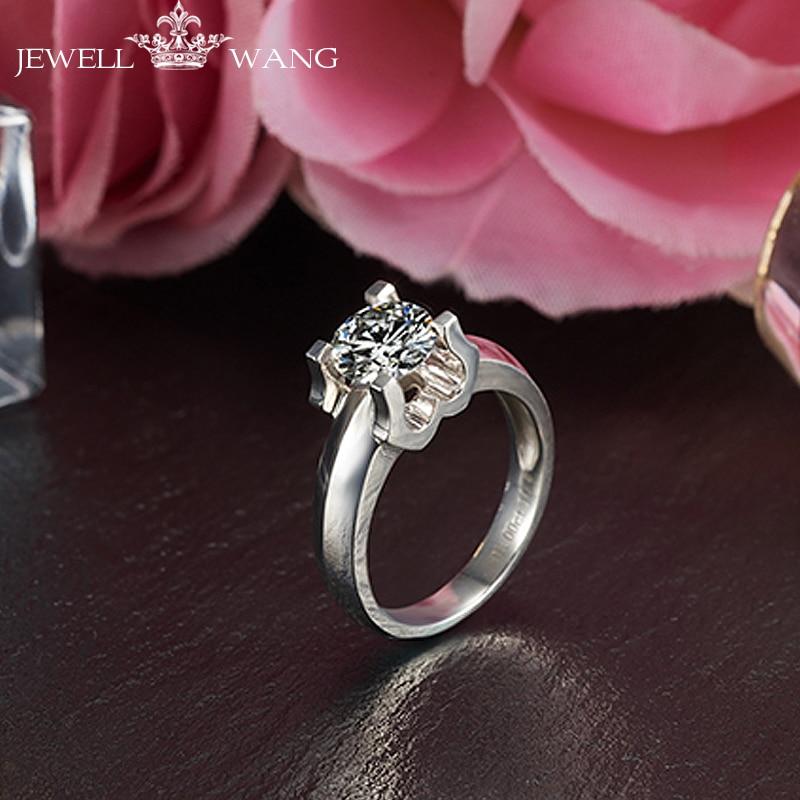 Jewellwang 18K White Gold Moissanite Rings for Women Round Romantic 0.5ct Certified Real Engagement Rings Brands Prong Setting