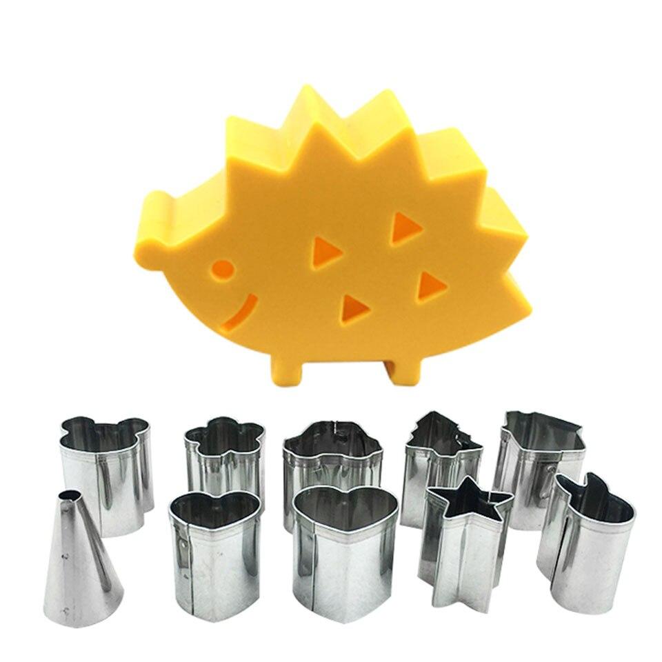 10 unids/set Cute cortador de galletas de animales con estuche de erizo embalaje Mini Fondant émbolo decoración de tortas galleta DIY molde chico hornear