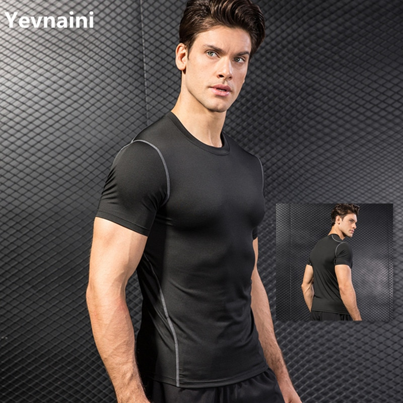New Original Design Running Shirt Men Quick Dry T-Shirts Running Slim Fit Tops Tees Sport Fitness Gym T Shirts Muscle Tee 2019 недорого