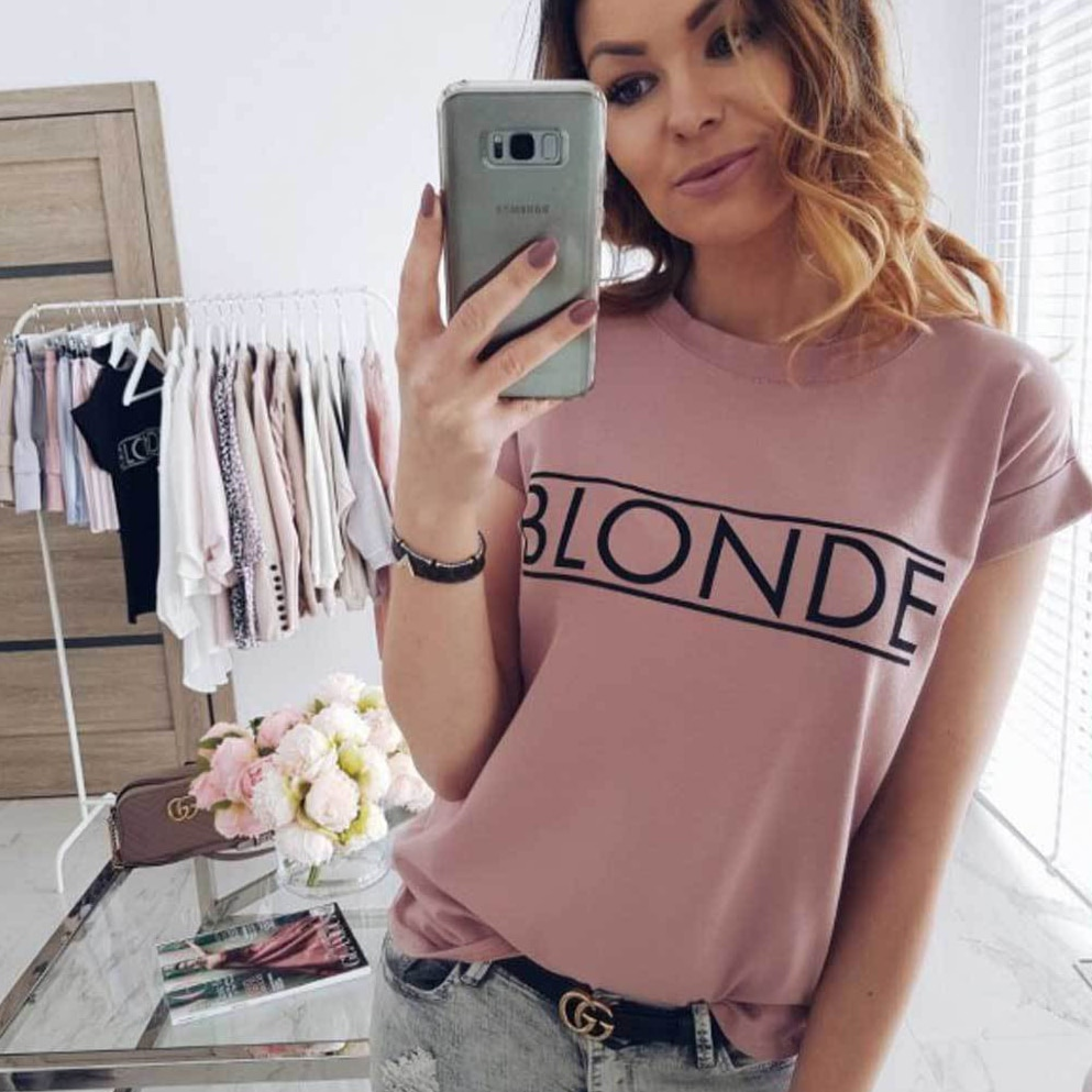 Fashion Vogue Womens Short Sleeve Basic Tee Shirt Summer Casual Tops feminina Hipster tumblr harajuku brand Blouse dames kleding