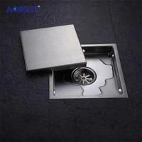 AODEYI     Drain de sol carre en acier inoxydable  grilles de dechets de salle de bains  douche Invisible  Drain de douche 110x110MM ou 150x150MM