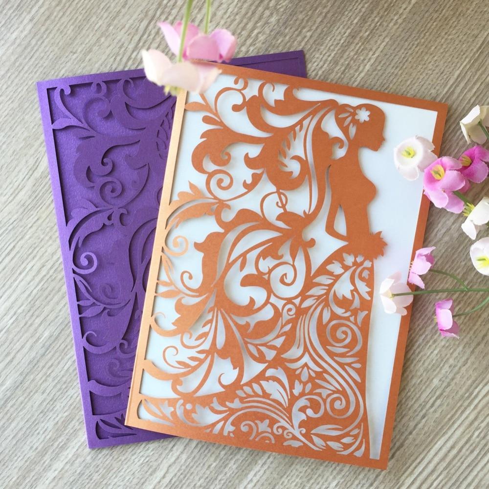 Carte dinvitation élégante nuptiale en papier nacré   40X, carte dinvitation ajourée découpée au Laser pour invités, fête de mariage