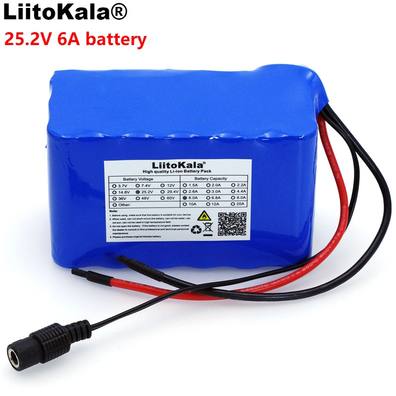 Liitokala-بطارية 6S3P 18650 للدراجة الكهربائية ، 24 فولت ، 6 أمبير ، 6000 مللي أمبير ، دراجة بخارية كهربائية/ليثيوم أيون ، مع حماية BMS 25.2 فولت