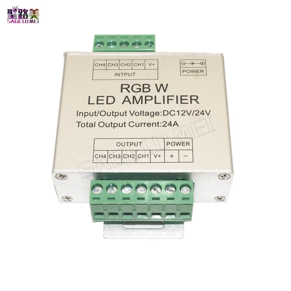 Светодиодный RGBW/RGB усилитель DC12V - 24V 24A 3CH 4CH выход RGBW/RGB светодиодный репитер питания пульт управления Светодиодный светильник
