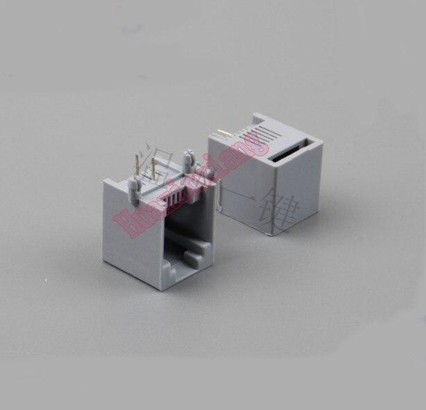 100 pçs/lote 5521 pcb rj11 6p2c fêmea jack/soquete conector para o telefone 90 graus cor cinza