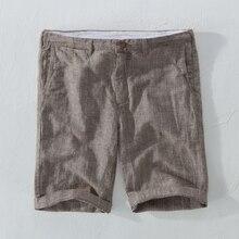 Suehaiwe flambant neuf style lin shorts hommes décontracté rayé lin hommes shorts 29-38 grande taille hommes vêtements court masculino 3 couleur