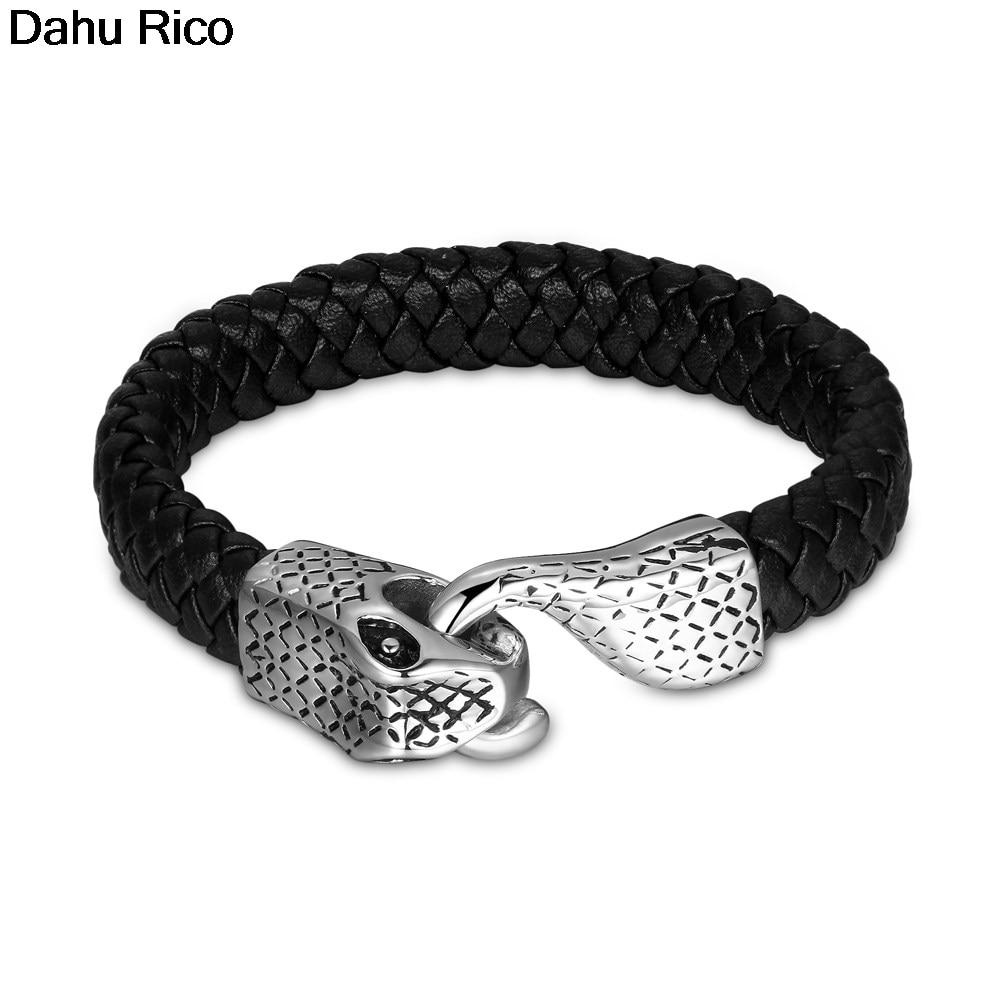 braslet gelang mens heren dia del padre leather deri couro cadenas chains silver color acero inoxidable rvs  Dahu Rico bracelets