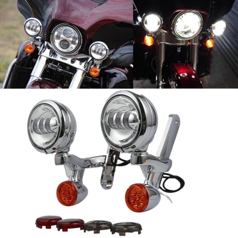 دراجة نارية بدوره إشارة LED الأضواء مساعدة الضباب ضوء الإسكان قوس ل هارلي إلكترا شارع الإنزلاق FLHX الطريق الملك 97-13