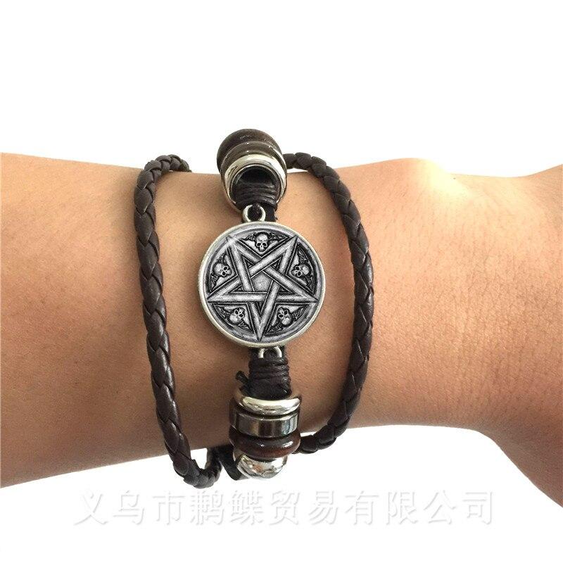 Satanic Baphomet Pentagram Bracelet Gothic Black/Brown Leather Bangle Satanism Evil Occult Pentacle