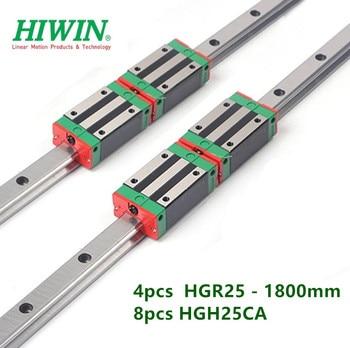 4pcs original HIWIN linear rail  HGR25 - 1800mm guide + 8pcs HGH25CA narrow carriage block bearings CNC part
