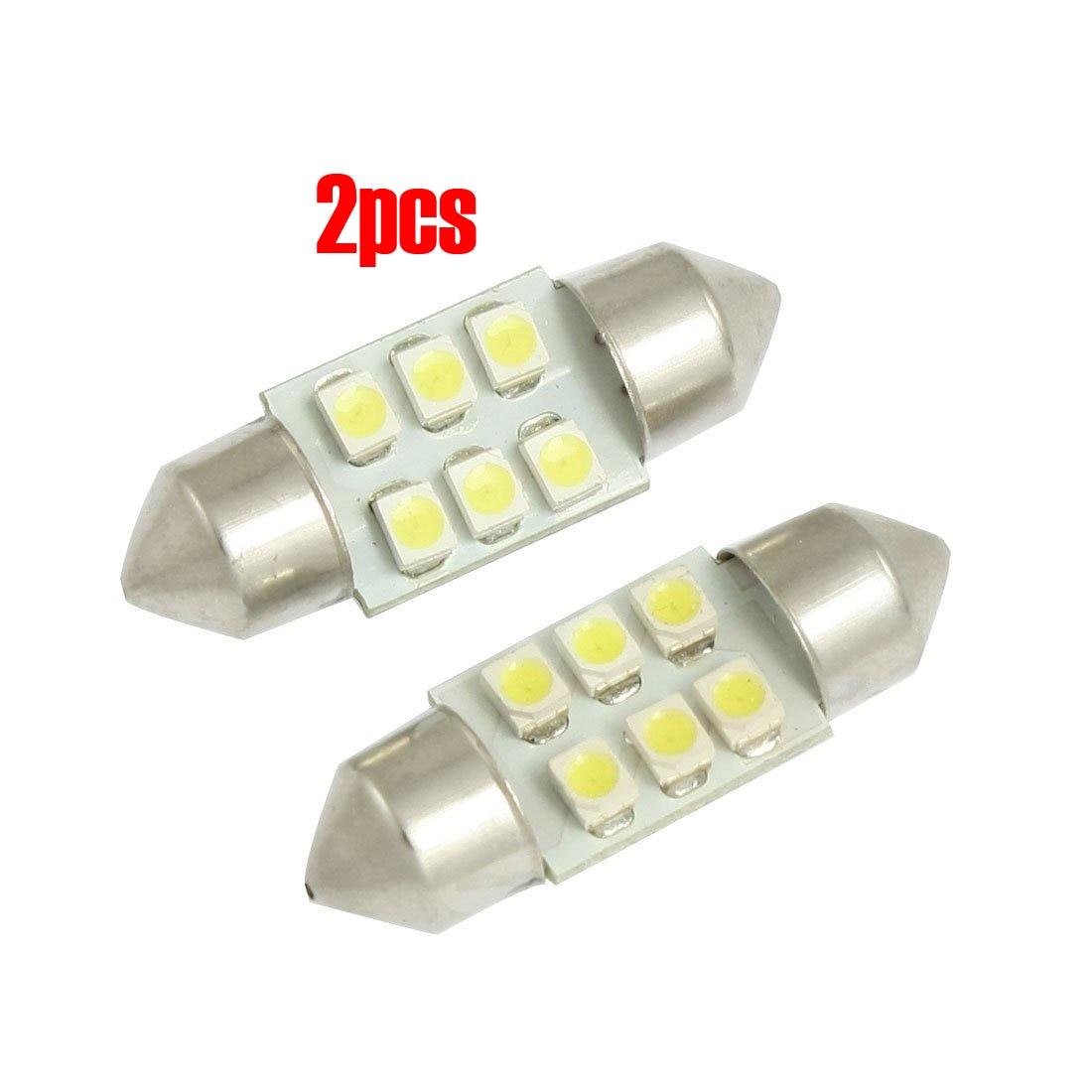 TOYL 2 uds 31mm blanco 3528 SMD 6 LED festón Dome Map Light DE3175 DE3021 bombilla para coche