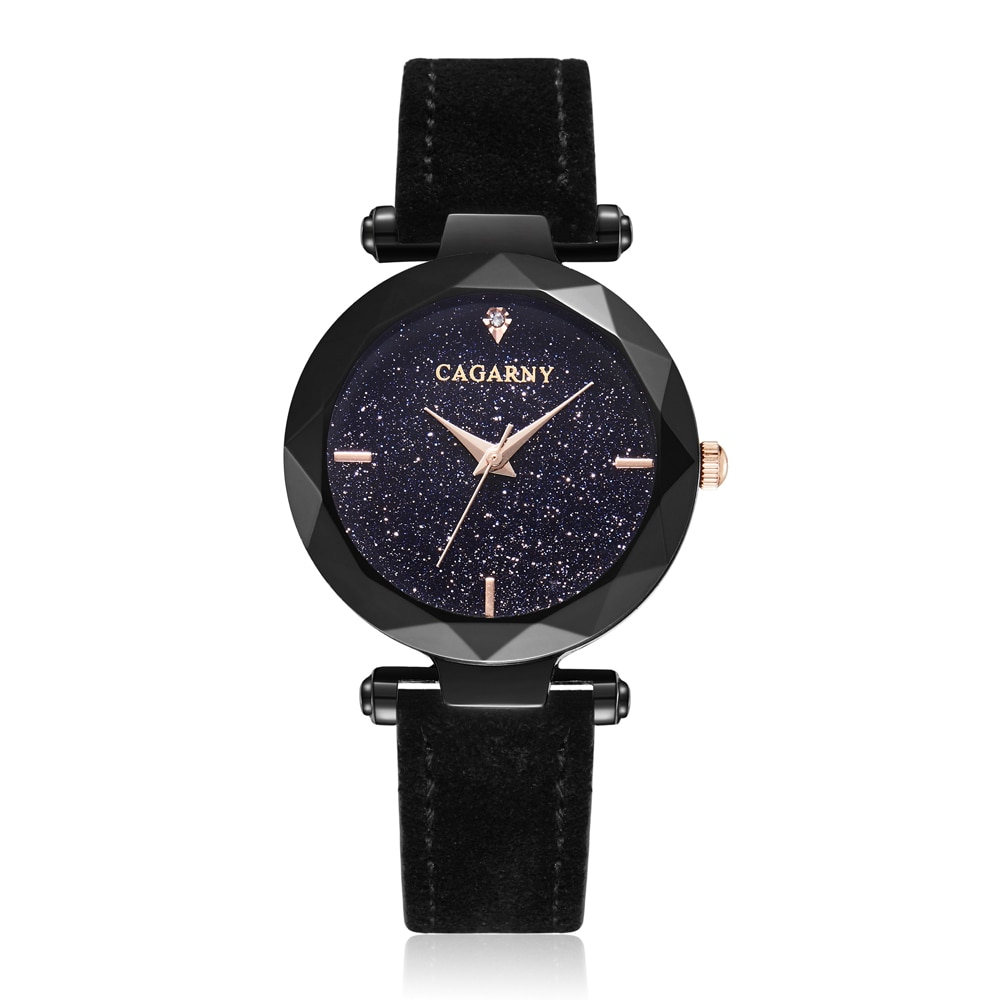 Cagarny Women Fashion Watch Creative Lady Casual Watches Small Case Crystal Stylish Desgin Black Leather Quartz Watch for Female