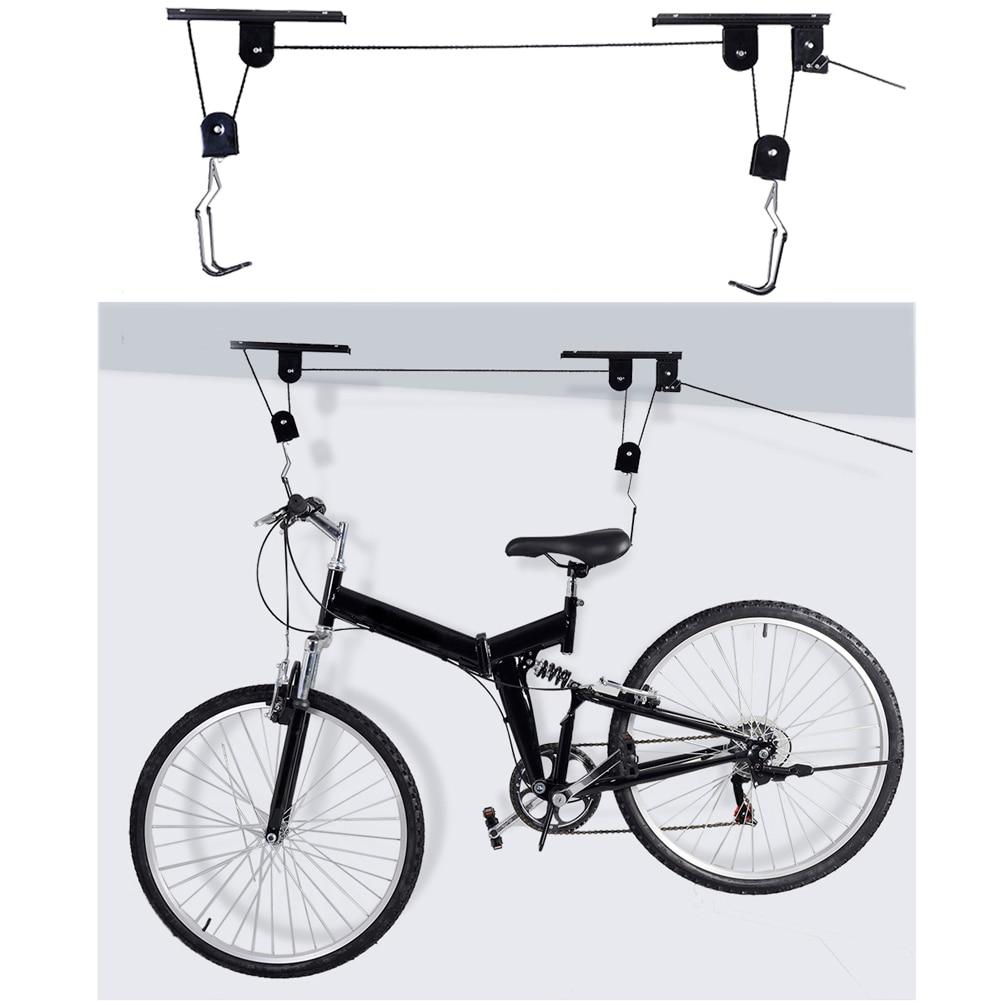 45LB fuerte bicicleta Levantamiento de bicicletas montado en el techo de elevación de almacenamiento colgador para garaje de Rack de levantar las asambleas ciclismo bicicleta