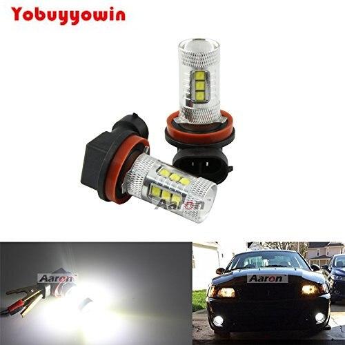 Envío gratis 2 uds bombillas LED de alta potencia blanco H11 H8 CREE Chip para luces antiniebla de coche sin mensaje de código de Error con resistencia de carga H11
