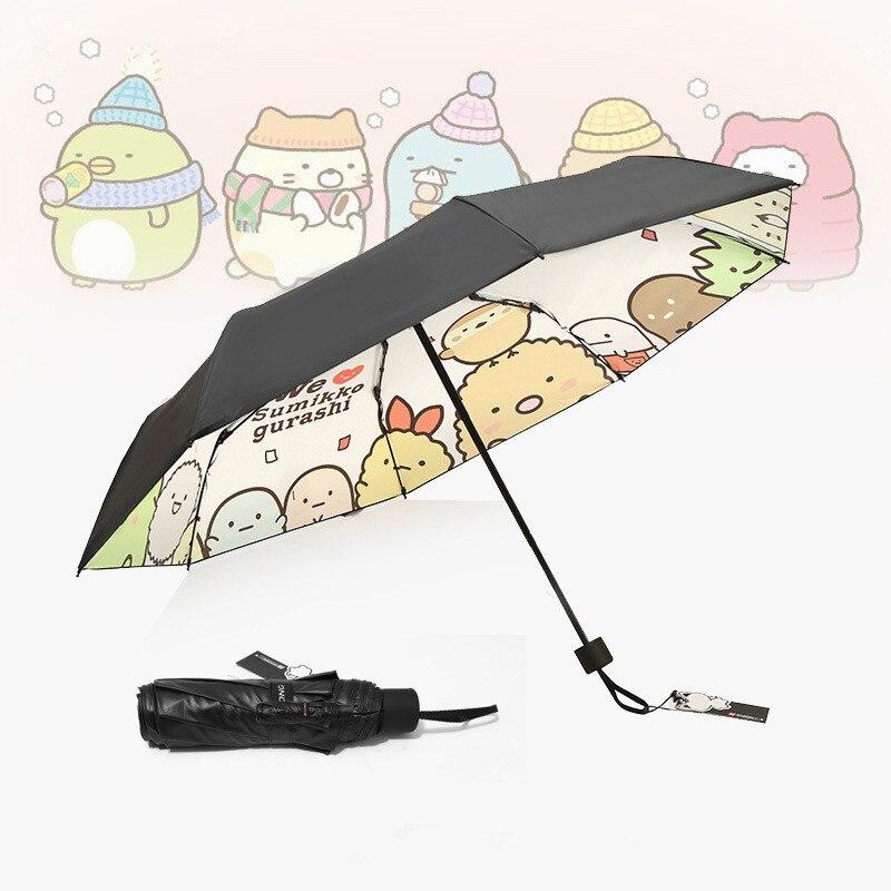 De dibujos animados que engomada gurash paraguas Tri-plegable engomada Sumikko gurashi a prueba de viento plegable anti-UV sol lluvia bolsillo paraguas negro