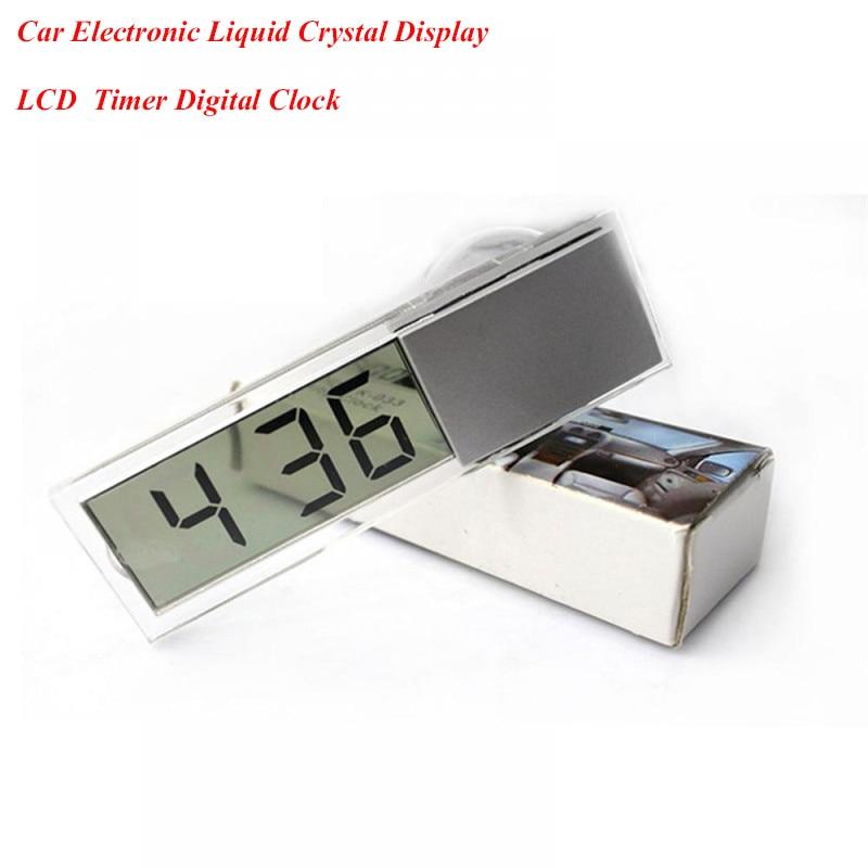 Reloj electrónico de coche con pantalla LCD Digital duradero con ventosa