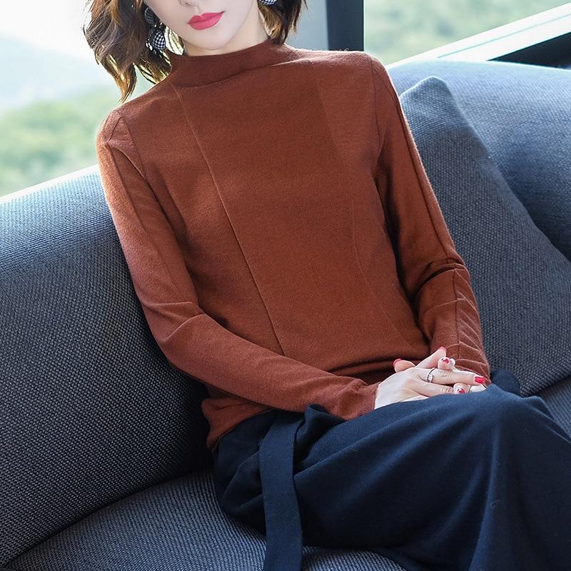 2018 Women's Half Collar Knitted Sweater Long Sleeve Pullover Woollen Sweater enlarge