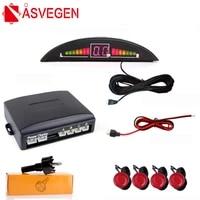 asvegen car auto parktronic led parking sensor 4 sensors reverse backup parking radar monitor detector system backlight display
