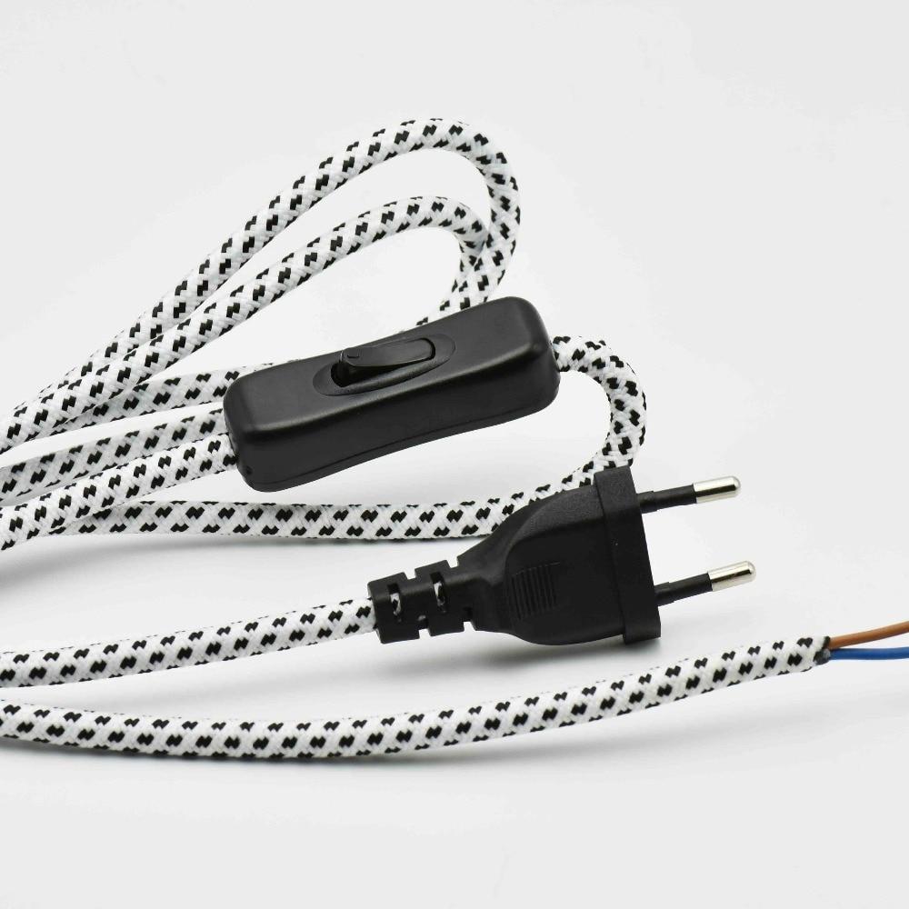 2*0,75 мм2 1,8 м европейская вилка переключатель лампы плетеный провод VDE Сертифицированный 304 переключатель лампы шнур питания с переключателе...