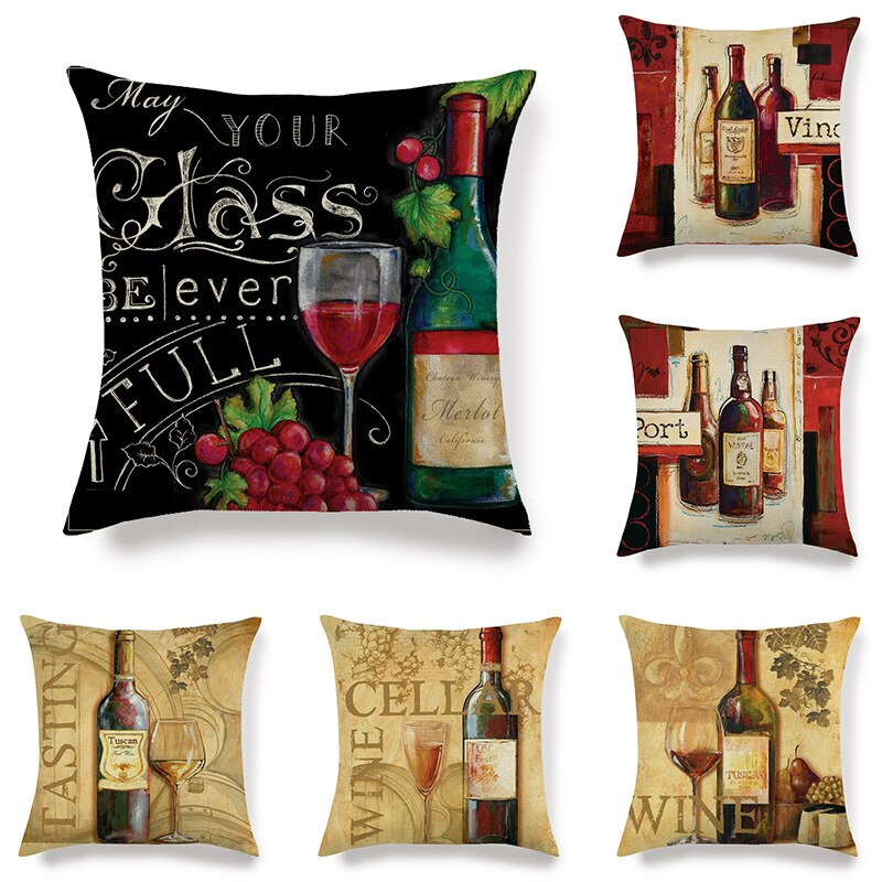 Francés de vidrio de vino/botella de funda de cojín, Serie de romántico Bar irlandés rojo funda de almohada Retro Banco respaldo almohada caso 45x45cm