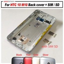 A + جودة ل HTC 10 M10 الغطاء الخلفي غطاء البطارية الخلفي الإسكان الباب سيم بطاقة SD إصلاح أجزاء استبدال زر
