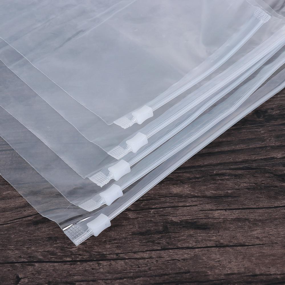5 unids/lote de plástico transparente Paquete de tela bolsa de almacenamiento de viaje bolsa con cierre a prueba de agua auto sellado organizador de tela