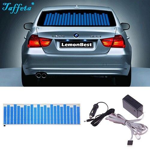 Niebieskie odcienie naklejki samochodowe rytm muzyki światło Flash LED lampa aktywowane dźwiękiem rozmiar W45 W90 W70 W80 W90 W114