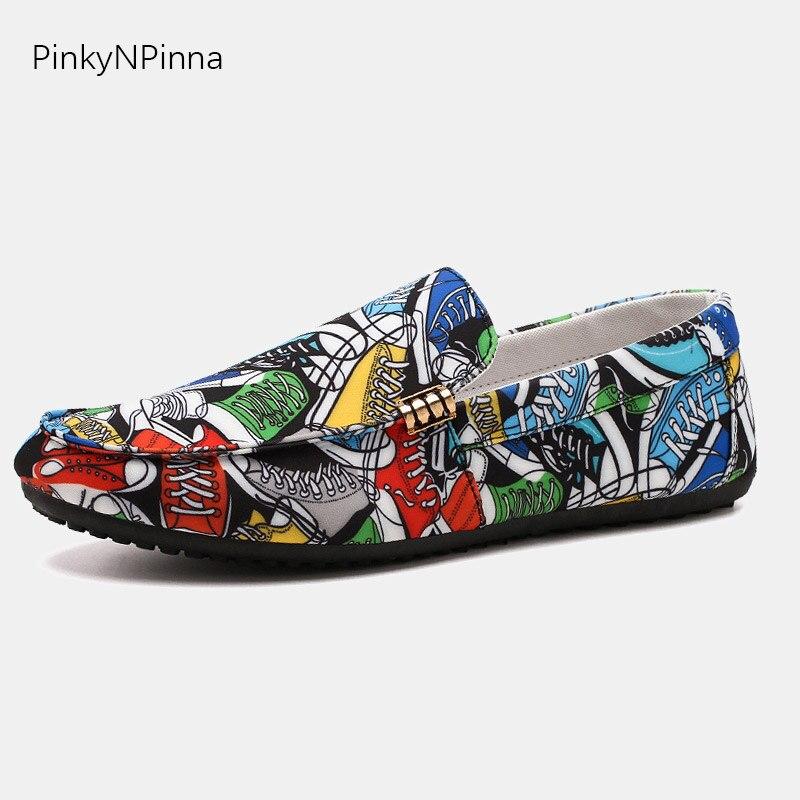 super light non-slip men loafers canvas upper designer pop art abstract graffiti pattern summer driving casual commuter shoes