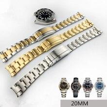 MERJUST 20mm 316lL Or Argent en acier Inoxydable bracelets de montre Bracelet Pour RX Daytona Sous-Marin Rôle Sous-marin Bracelet Bracelet