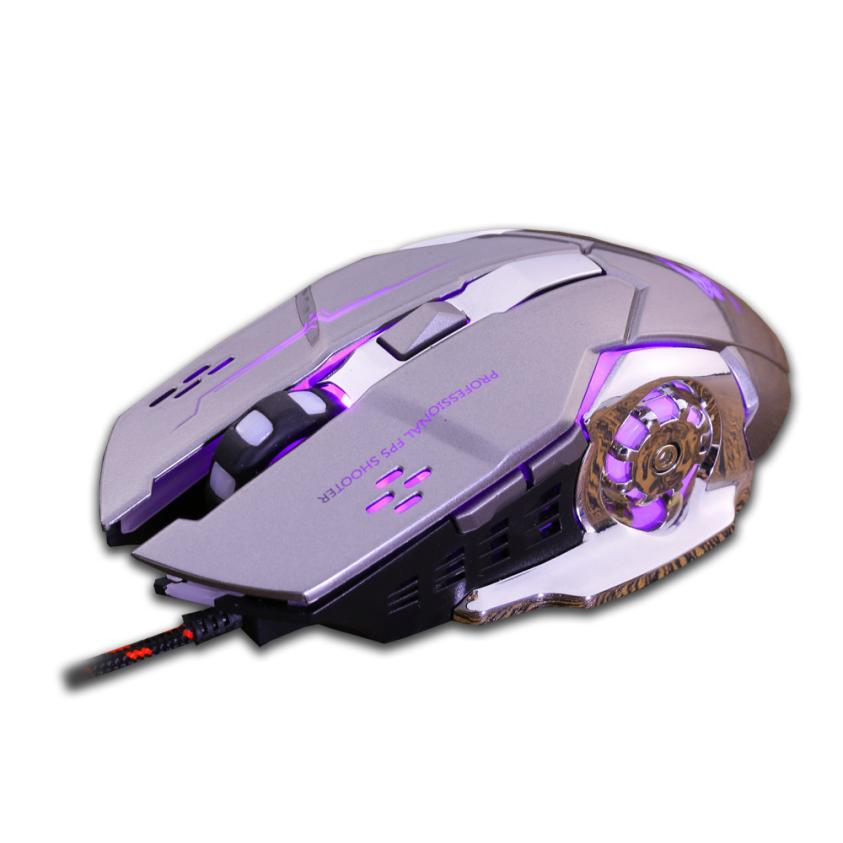 Nuevo ratón Gamer con cable luz LED 4000DPI óptico Usb ergonómico Pro Gamer Gaming Mouse placa de Metal súper ancho rodillo l0719 #3