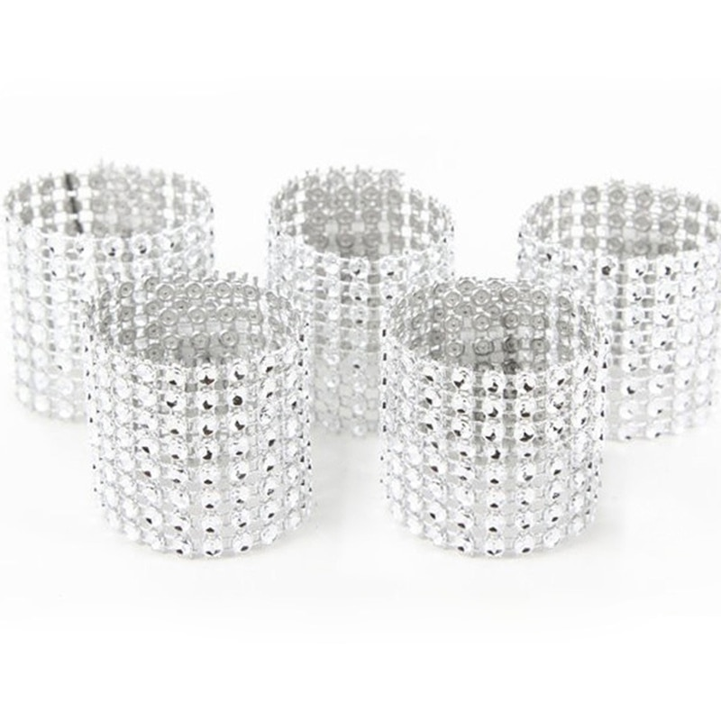 10pcs Gold Silver Napkin Ring Chairs Buckles Wedding Event Decoration Crafts Rhinestone Bows Holder