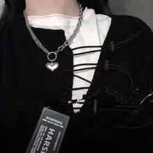 Punk Egirl Retro Heart Shape Chain Necklace Couple Fashion Streetwear Harajuku Pendant Necklaces For Women Men Charm Jewelry