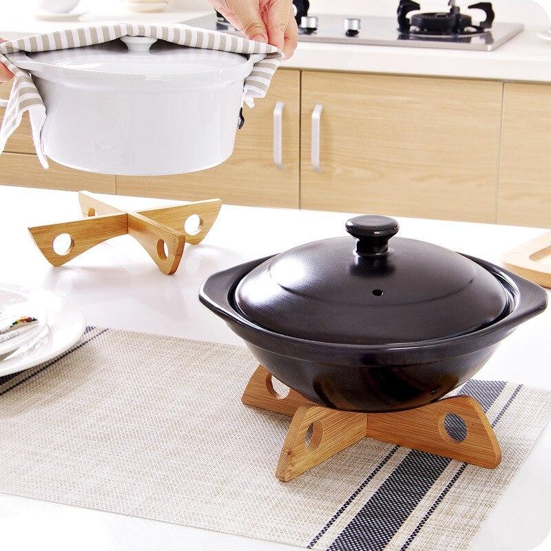 1 Uds. Organizador de cocina multifunción extraíble tipo X de bambú para aislamiento térmico de maceta también se puede utilizar para mantel individual