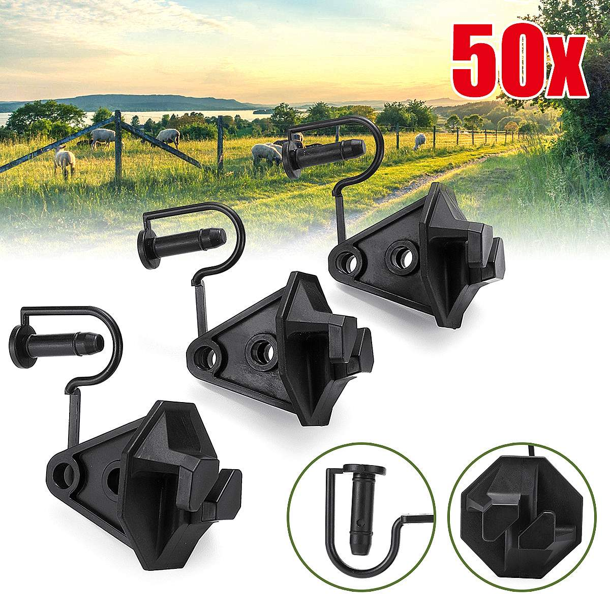 50pcs 1.6'' Electric Fence Insulator Pinlock Pin Lock Insulators Steel Post