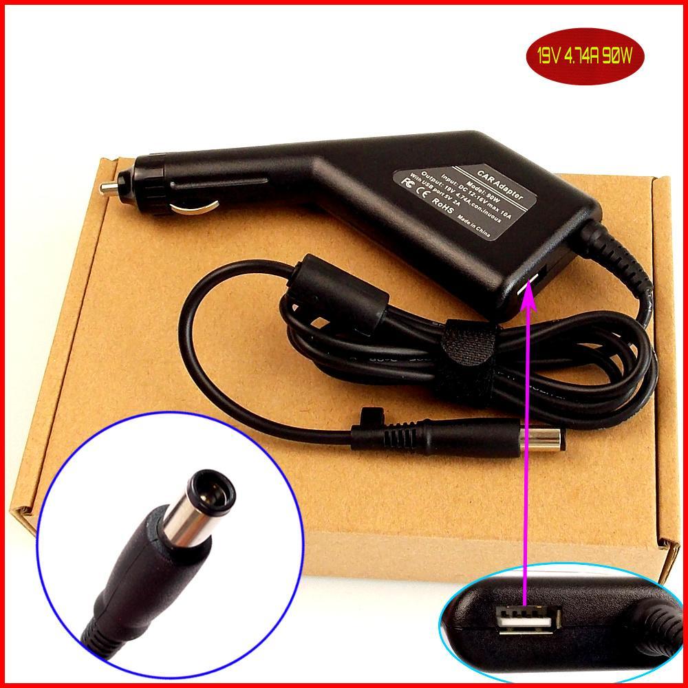 Ordenador portátil de alimentación DC Cargador/adaptador de coche 19V 4.74A 90W + puerto USB para HP/Compaq 8510p 8510w 8710p 8710w nc2400 nc4400 nc6400