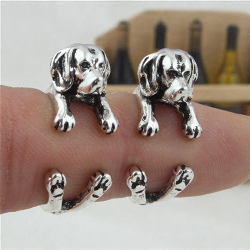RONGQING Boho Hippie Beagle perro lindo anillo diseño animal anillos ajustables para mujeres Bague Femme amantes de las mascotas regalos