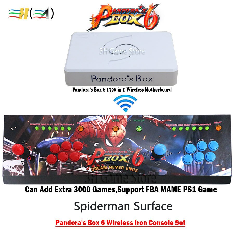 Consola de Arcade Original Pandora Box 6 1300 en 1, consola de hierro inalámbrica, Juego de 2 botones de Joysticks para jugadores, salida HDMI VGA TV PC PS3