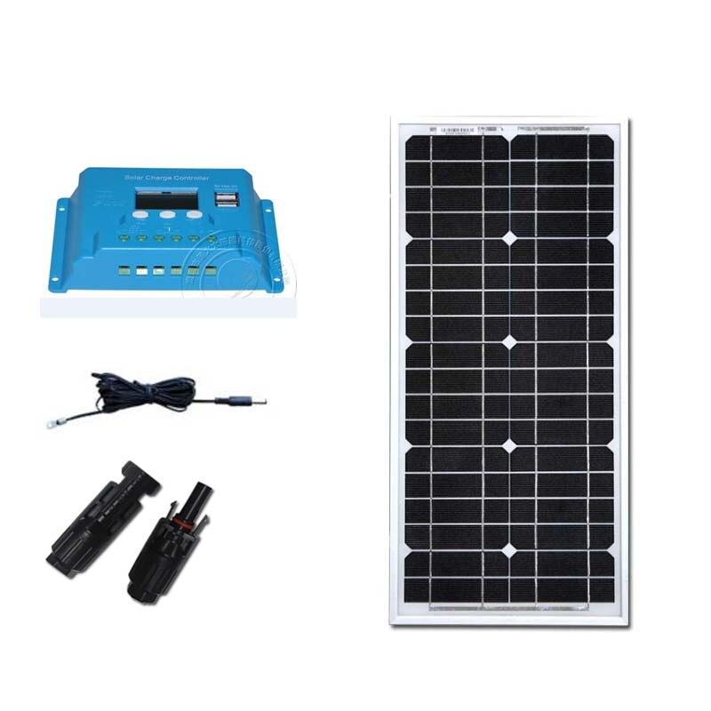 Kit de Solaire Panneau Solaire 12v 20w Controlador Solar 12 v/24 v 10A PWM cargador de batería de coche Solar Caravana cargador de teléfono Solar