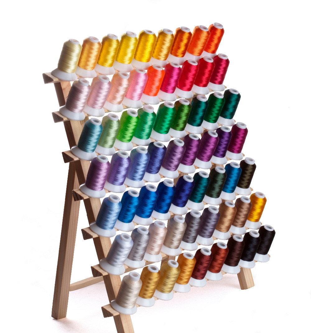 Simthread Polyester Embroidery Machine Spools Thread 63 Brother Colors 550 Yards Each, with 5pcs Type A Plastic Empty Bobbins