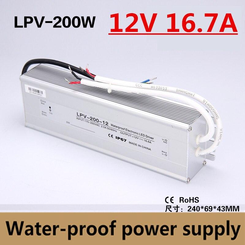 IP67 200W 12V 16.5A uso ao ar livre À Prova D Água LED Driver para led faixa de alimentação Transformador de Iluminação da fonte de alimentação do adaptador LPV-200-12