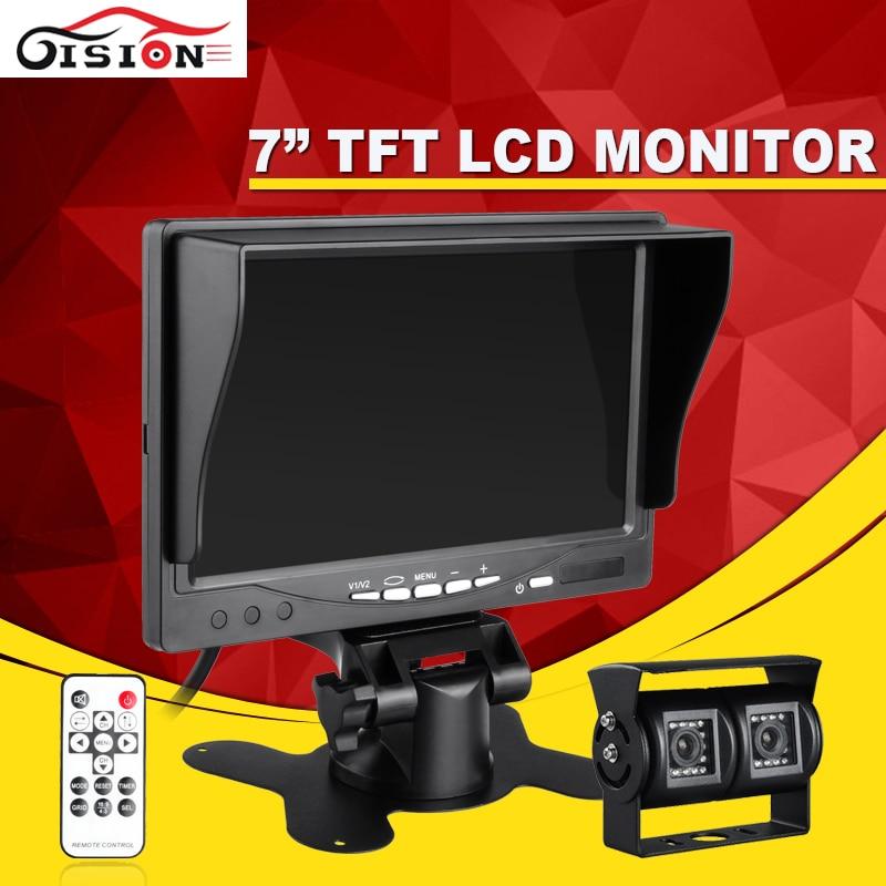 Night Vision 600TVL 3.6mm CCD Car Rearview Parking  Dual Camera With 7Inch TFT LCD Monitor For Reversing Backup Car Monitor Kits