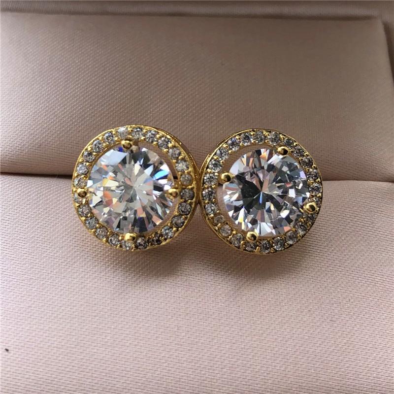 Wanita mewah anting-anting kristal bulat pejantan warna perak antik - Perhiasan fesyen - Foto 2