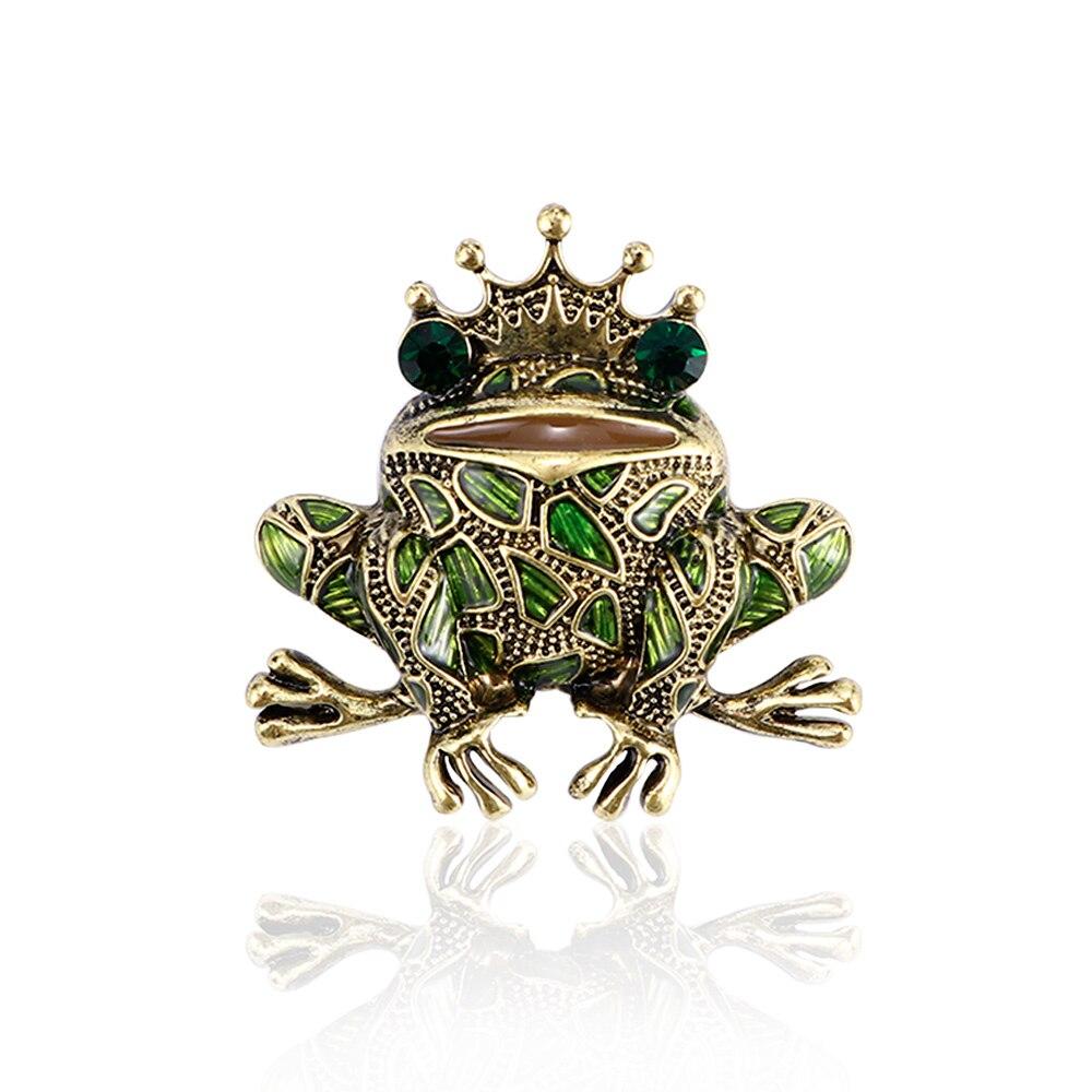 Criativo Sapo Rei Padrão Broche Brilhante Rhinestone Broche Pin Moda Engraçado Chapéu Vestido Acessórios Mulheres Presente Bonito Dos Desenhos Animados