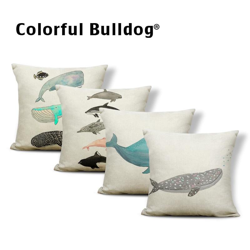 Personalized Sea Animal Pillow Case Blue Black Whale Shark Bone Star Moon Decoration Pillow Farmhouse Sofa Cushion Cover 45*45