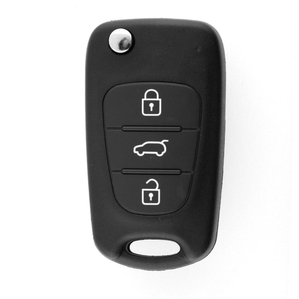 Substituição dobrável remoto keyless entrada caso chave escudo 3 botões para kia sorento sportage cerato rio sem corte lâmina